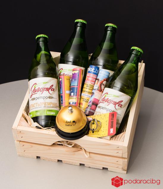 подарък за мъж - карти и щайга с бира